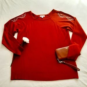 Red Embellished Sweater